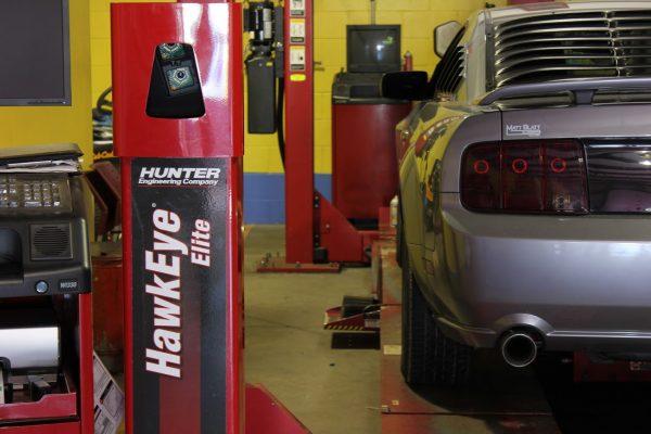 rear of ford mustange on hydraulic lift Matt Blatt Tire and Auto Repair Glassboro NJ