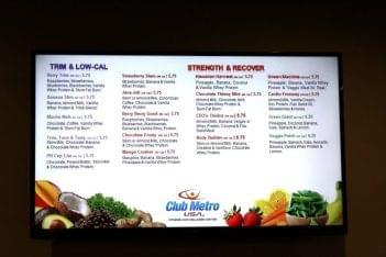Club Metro USA in Philadelphia PA menu