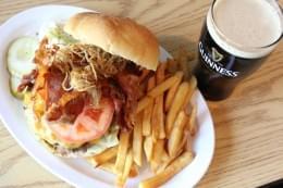 Merryfields Bar in Oakland New Jersey Burger and Fries Platter