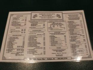 Merryfields Bar Oaklyn, New Jersey. Menu and Specials