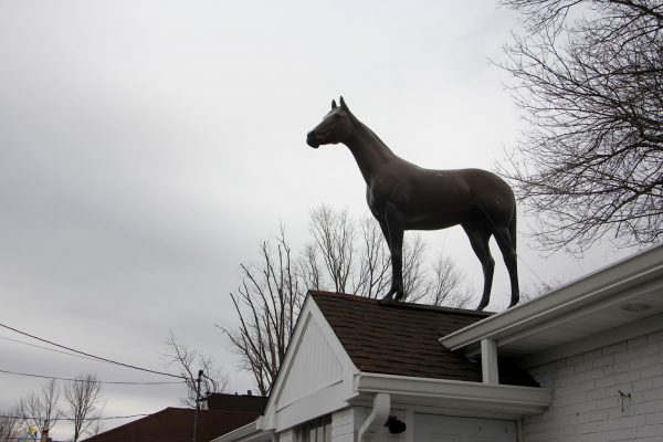 horse on rooftop Toll Booth Saddle Shop Mount Holly, NJ
