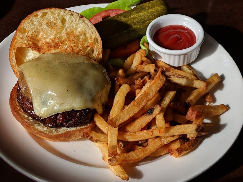 burger and fries at Rouge Restaurant, Philadelphia, PA