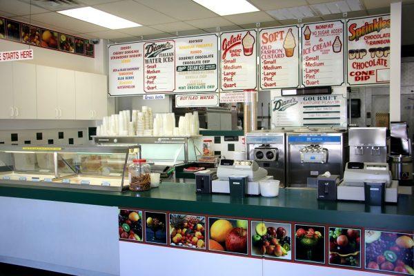 menu counter Diane's Italian Water Ices Voorhees, NJ