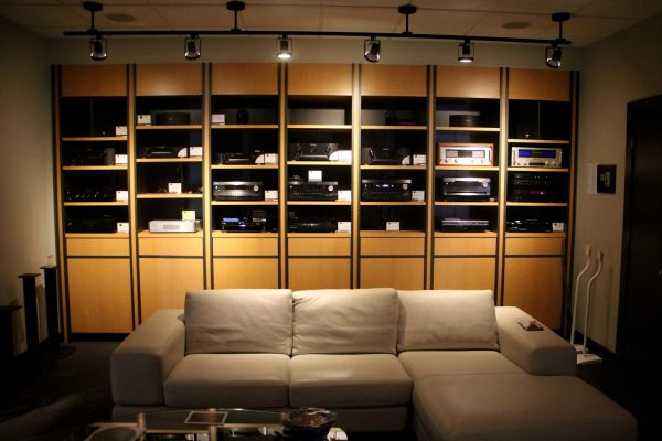 rack of receivers at HI-FI Sales Home Theater Equipment, Cherry Hill, NJ
