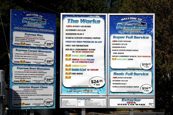 service menu at Pristine Hand Carwash Lube & Detail Center Carwash, Cherry Hill, NJ