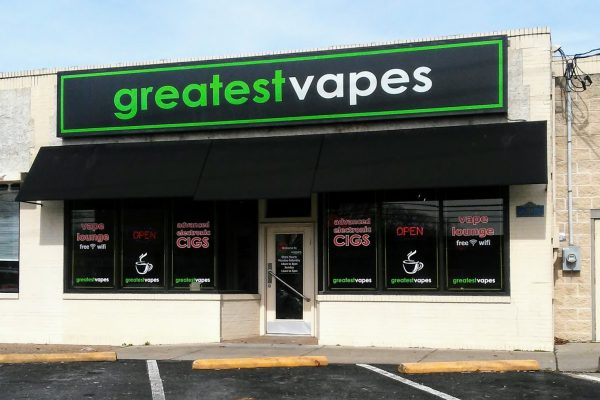store front of Greatest Vapes and CBD Smoke Shop, Cherry Hill, NJ