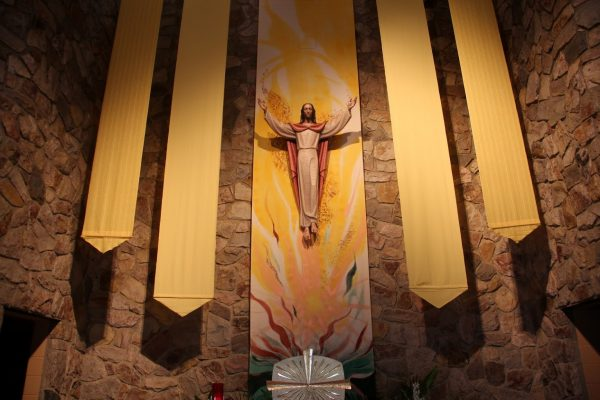 Jesus above altar at Church of St. Joan of Arc - See-Inside Place of Worship, Marlton, NJ
