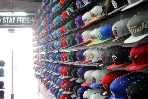 hat display at Cap Swag snap back hats Wildwood, NJ