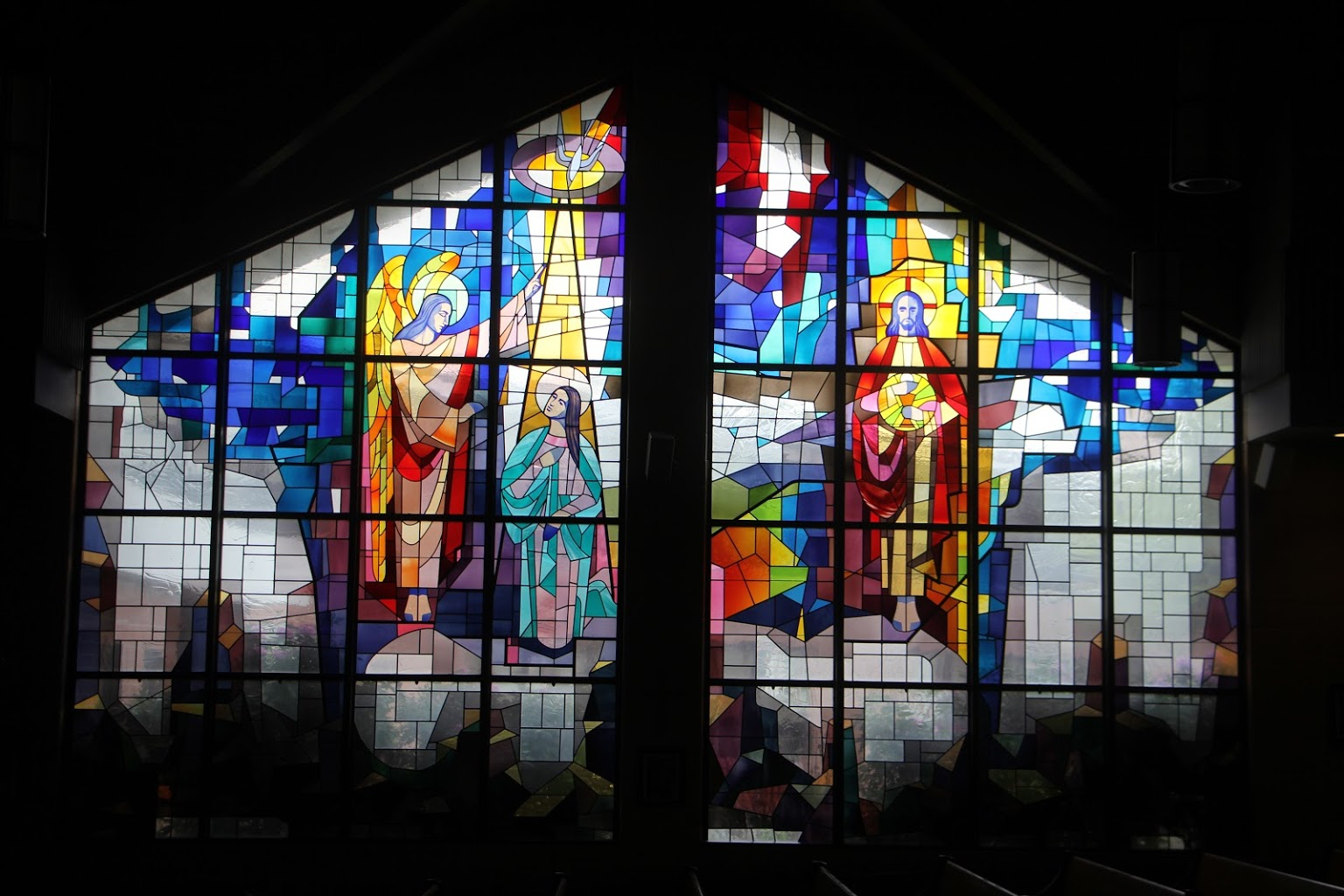 stained glass window at Church of St. Joan of Arc - See-Inside Place of Worship, Marlton, NJ
