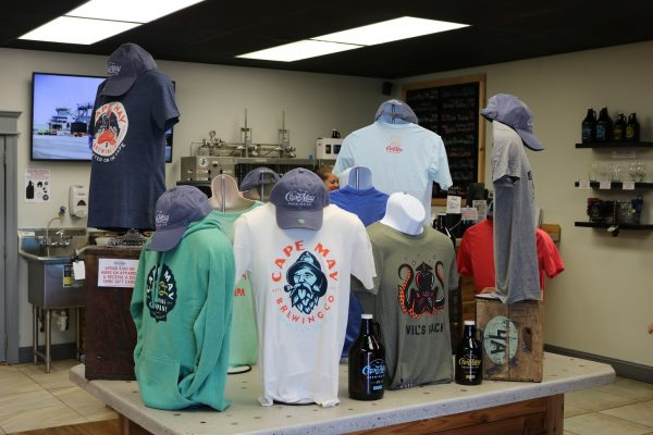 tshirts at gift shop of Cape May Brewery in Wildwood, NJ