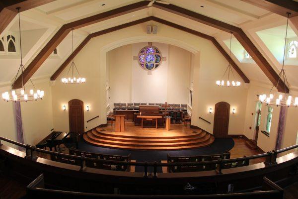 balcony view at Glencoe Union Church – Glencoe, IL