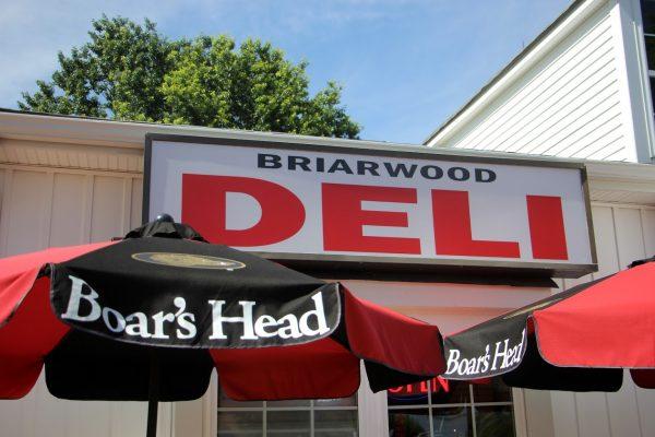 front sign of New Briarwood Deli Delicatessen Convenience Store, Hamilton, NJ