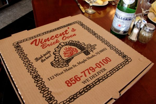 pizza box of Vincent's Brick Oven Pizza - See-Inside Pizzaria, Maple Shade, NJ
