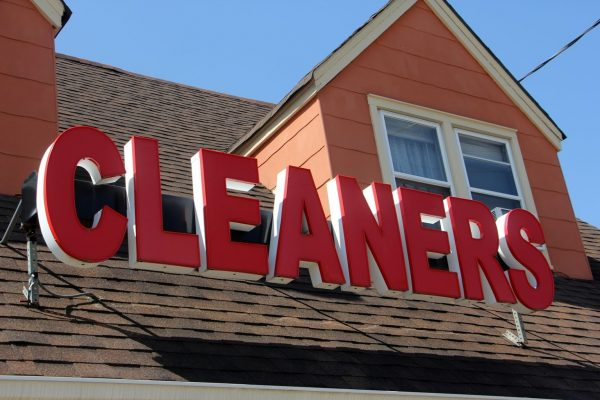red cleaners sign above Patti Cleaners a Dry Cleaner in Maple Shade, NJ