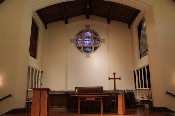 sanctuary stage with organ at Glencoe Union Church – Glencoe, IL