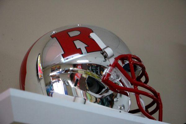 silver Rutgers football helmet at New Briarwood Deli - See-Inside Delicatessen Convenience Store, Hamilton, NJ