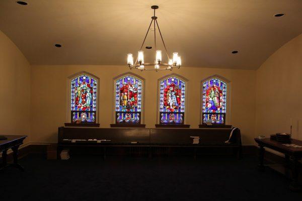 stained glass windows at Glencoe Union Church – Glencoe, IL