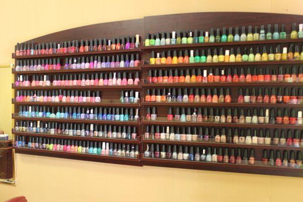 wall of nail polish at Tulip Nails – Mount Holly, NJ – Nail Salon