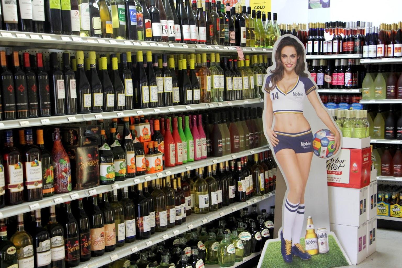 wine display at Pike Wines & Liquors in Hammonton, NJ