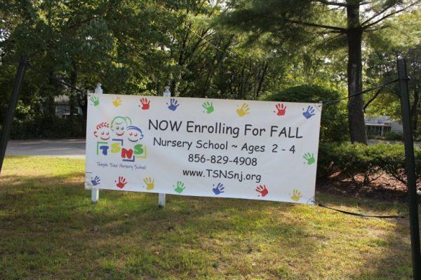 Temple Sinai Nursery School Cinnaminson NJ enrollment banner