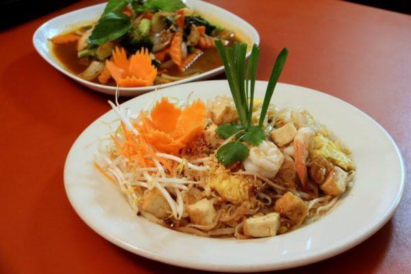 A Little Thai Kitchen Cherry Hill NJ beef noodles shrimp tofu carrots restaurant dishes