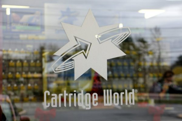 Cartridge World Cherry Hill NJ office supply store printer ink store front entrance sign logo