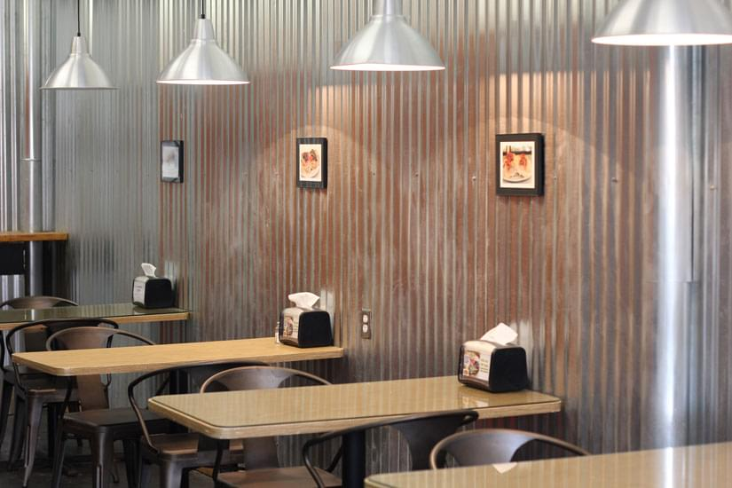 Marie S Sandwich Haddonfield Nj Interior Seating Tables Aluminum Wall Corrugated Metal