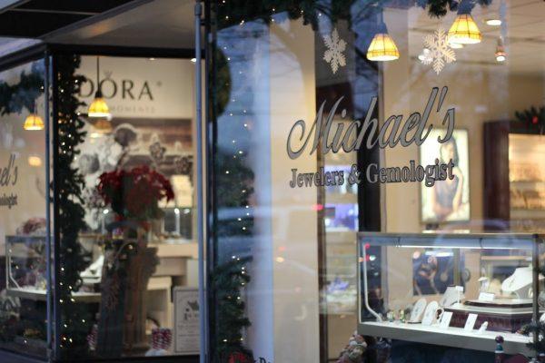 Michael's Jewelers Haddon Heights NJ store front window display logo
