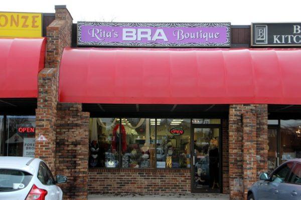 Rita's Bra Boutique Cherry Hill NJ brassiere lingerie store front entrance sign