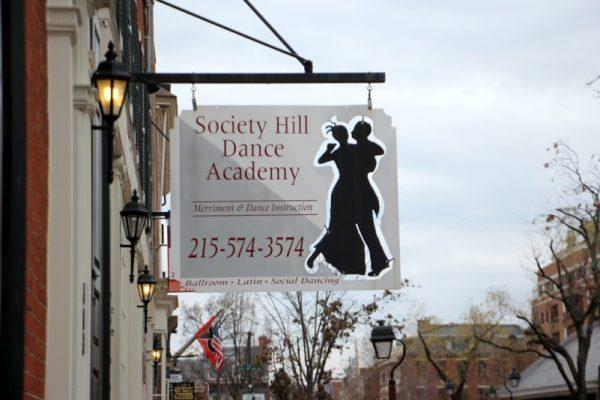 Society Hill Dance Academy Philadelphia PA entrance sign logo