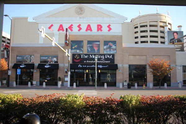 The Melting Pot a fondue restaurant Atlantic City NJ Caesars casino store front entrance sign logo