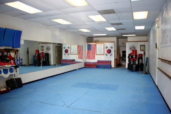 Yis Karate Institute Inc Atco NJ Martial Arts studio floor mat mirrored wall american south korean flags