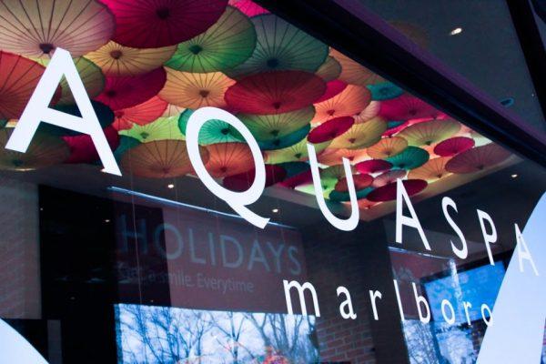 AquaSpa Day Spa and Nail Boutique Marlboro Morganville NJ logo window display