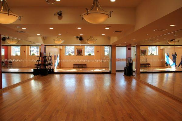 Arthur Murray Dance Studio Bayside NY wooden dance floor mirrors chandelier