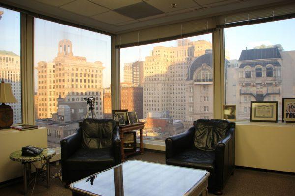 Law Offices of Lonny Fish Philadelphia PA city skyline corner office window view telescope