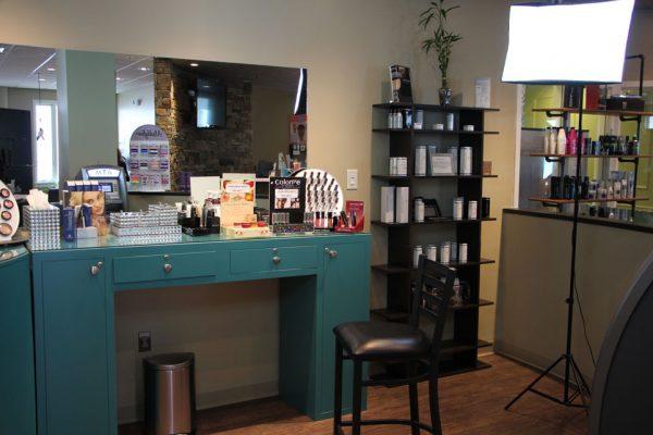 Lotus Salon Marlton NJ makeup station
