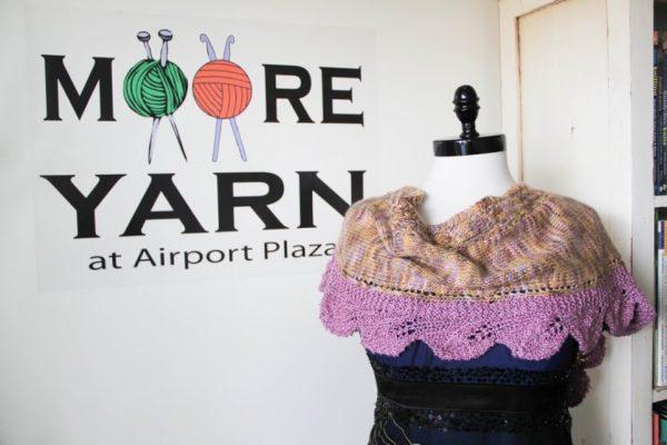 MOORE YARN at Airport Plaza Hazlet NJ knitted shawl ball yarn darning needles logo