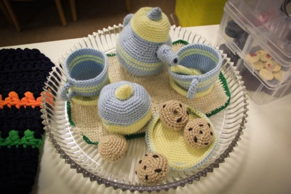 MOORE YARN at Airport Plaza Hazlet NJ knitted tea cup set chocolate chip cookie