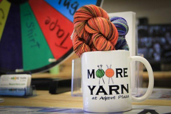 MOORE YARN at Airport Plaza Hazlet NJ mug cup ball yarn darning needles spin wheel