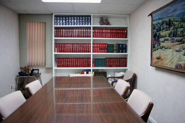 Morgenstern & Rochester Cherry Hill NJ law office conference room table bookself