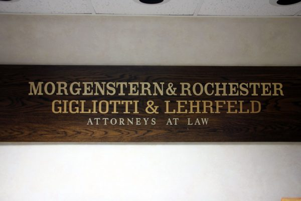 Morgenstern & Rochester Gigliotti & Lehrfeld Cherry Hill NJ attorneys at law wooden sign