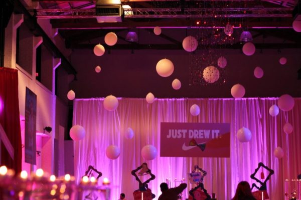 Skybox Productions Philadelphia PA batmitzvah party event venue purple lighting balloons