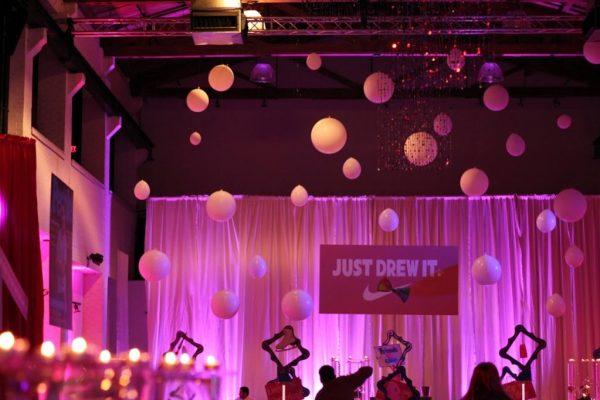 Skybox Productions Philadelphia PA batmitzvah party event venue purple lighting balloons