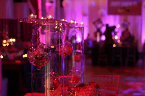 Skybox Productions Philadelphia PA event venue purple lighting ornament decoration glass ball mood
