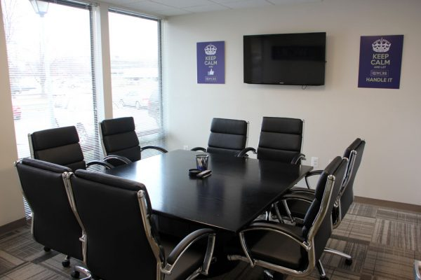 Wolf Commercial Real Estate Marlton NJ conference room black table black chairs