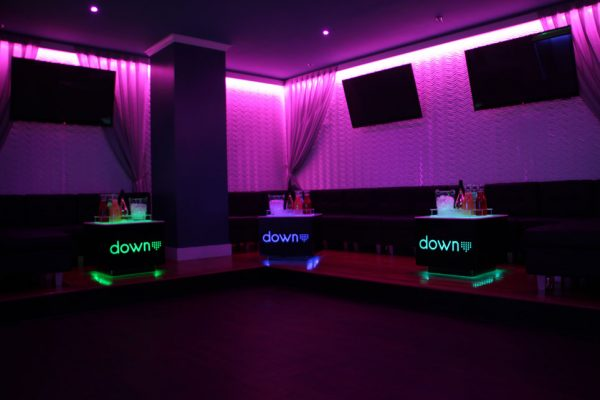 Down Night club Philadelphia PA bar club lounge seats dim purple lights