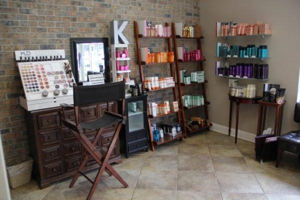 The Art of Hair Salon Old Bridge NJ makeup station corner display