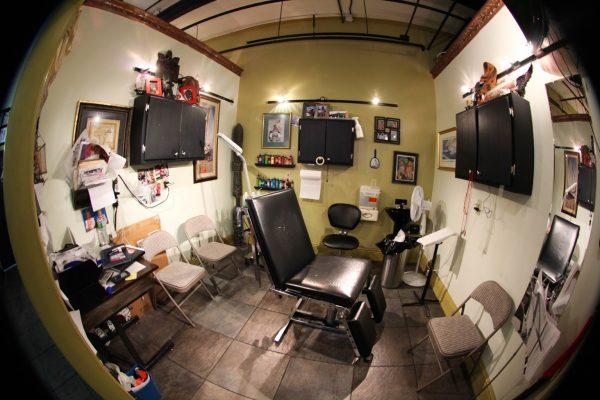 tattoo chair at Fat Kat Tattoos - See-Inside Tattoo Parlor, Keyport, NJ