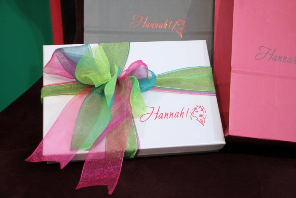 Hannah of Princeton NJ gift wrapping box ribbon logo