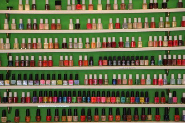 Princess Nail Salon Princeton NJ nail polish wall display